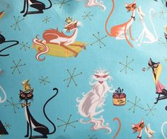 Robert Kaufman 'Atomic Cats' Print on Fabric.