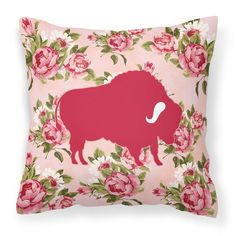 Buffalo Shabby Chic Pink Roses Fabric Decorative Pillow BB1127-RS-PK-PW1414