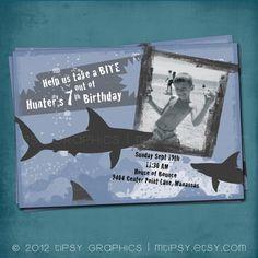 Take a bite SHARK Birthday Printable Party Invite by by MTipsy, $16.00