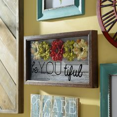 """We all need a friendly reminder of how beautiful and perfect we are! Keep your confidence up with Kirkland's """"Be You Tiful"""" Shadowbox. Hang it by your mirror, in your bathroom, or by the front door to always give you an extra boost of happiness."""