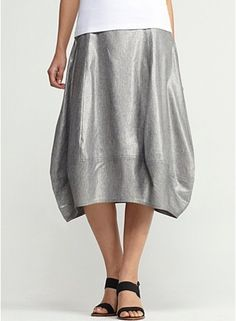 Calf-Length Lantern Skirt in Glimmer Linen Stretch. 28 inches long. It has just the right amount of 'edge' -- without seeming like it's trying too hard. Dress up, dress down, but keep accessories and top simple.