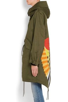Givenchy - Hooded Printed Cotton-twill Parka - Army green - FR36
