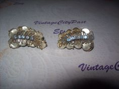 Vintage Fan Shaped Clip Earrings Pearl with Blue Rhinestones, vintage earrings, vintage ear clips, vintage jewelry by vintagecitypast on Etsy