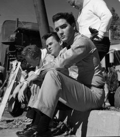 Rare photo on movie set with Red and Sonny West - the two he fired in 1976 that wrote the 1977 book about Elvis.