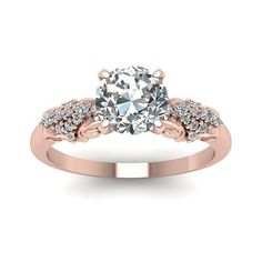 14k Rose Gold 7/8ct TDW White Diamond GIA Certified Filigree Engagement Ring (H-I, I1-I2) (7), Women's, Pink (floral)
