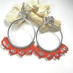 Boucles d'oreilles argent rouge - créoles argent rouge - cadeau fête des mères - bijoux fait main par breloques de Sophie bijoux tissés perles de miyuki
