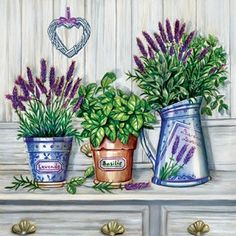 Provence Decoupage Paper Napkins Lavender Vintage Paper by YWart