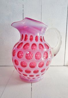 Fenton Glass Coin Dot Cranberry Opalescent by DauphinTimeCapsule