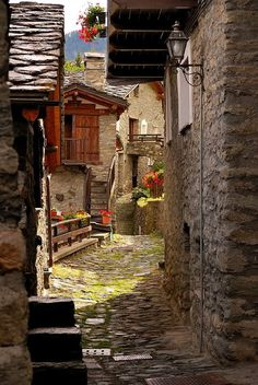 Ancient Street - Torgnon is a town and comune in the Aosta Valley region of north-western Italy.