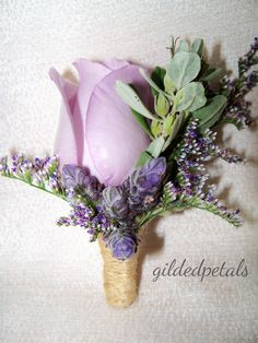 Gilded Petals Country Blue and lavender rose, sage, lavender boutonniere