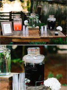 Rustic Easy-Going Wedding - The Wedding Chicks Drink Table, Dessert Table, Beverage Table, Wedding Menu, Farm Wedding, Wedding Ideas, Graduation Food, Samantha Wedding, Reception Food