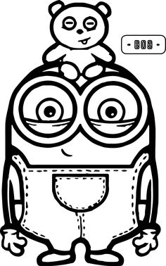 cute bob and bear minions coloring page - Minion Coloring Pages