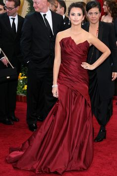 Penelope Cruz Wine Mermaid Strapless Gown 82nd Oscars JSRC0027
