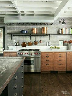 Cuisine quip e moderne en bois implantation en l avec for Implantation cuisine equipee