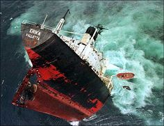This picture is of a ship sinking just like the boat Pi and his family departed on. -Livia Lovett