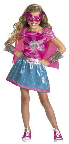 Girls Super Hero Barbie Costume   Barbie Costumes
