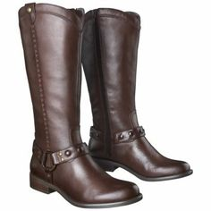 Women's Mossimo Supply Co. Erika Genuine Leather Studded Harness Boot - Brown from Target