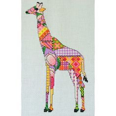 Patchwork Giraffe Cross Stitch Pattern, instant download PDF Chart    Finished design is approx 5.5 inches wide x 9.5 inches high on 14 count and