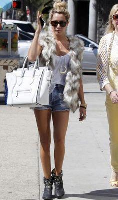 Ashley Tisdale - denim shorts, basic white tank top, fur vest