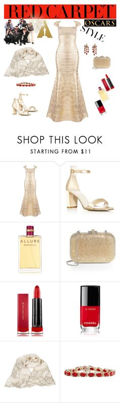 """""""Red Carpet Queens: Oscars Throwback"""" by miriam-witte ❤ liked on Polyvore featuring Kenneth Cole, Chanel, Judith Leiber and Max Factor"""