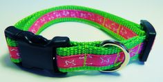 Small Green/Pink/White Stars Dog Collar by WildThingzPetGear on Etsy