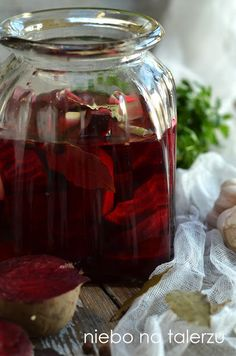 Pin by IRA on Boże narodzenie Pickled Beets, Polish Recipes, Polish Food, Healthy Soup, Cranberries, Healthy Choices, Pickles, Mason Jars, Noel