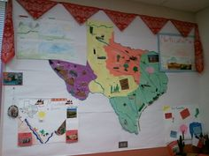Social Studies Map Texas Regions  traced on large colored poster board using doc camera then gave a region to a group of students. Used glue, construction paper, textbook, sand