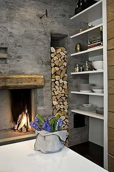 stucco, timber, reclaimed wood fireplace