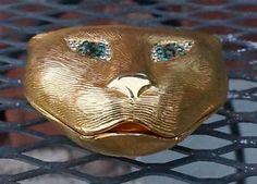 Rare Vintage Textured Gold Tone Cat Ladies Vanity Compact | eBay