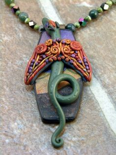 PC Eclectic Out For a Flight OOAK Polymer Clay Dragon Pendant Necklace