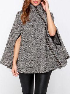 Gray Cape Zipper Coat