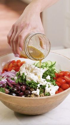 The most delicious vegan and gluten-free Lentil Salad bursting with Greek and Mediterranean flavors. This healthy salad is perfect as a dinner or for meal prep. # Food and Drink dinner 21 day fix Mediterranean Greek Lentil Salad (Vegan) Healthy Meal Prep, Healthy Snacks, Healthy Eating, Healthy Salads For Dinner, Greek Recipes, Vegan Recipes, Cooking Recipes, Cooking Kale, Cooking Bacon