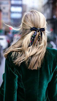 green velvet blazer and rhinestone satin ribbon hair bow barrette