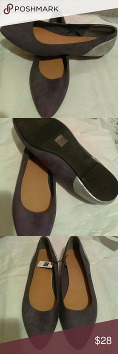 Ladies Gap Grey & Silver Flats Size 10 ladies grey & silver flats from the gap. Suede material is the grey part. Brand new with tags still on. Comes from a pet free/ smoke free home. GAP Shoes Flats & Loafers