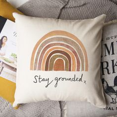 Earth Rainbow 'Stay Grounded' Cushion - Round or Square – claire close studio. Cosy up with this earth toned rainbow in shades of rust and ochre on a natural cotton ground. The perfect hygge Christmas gift to make loved ones smile this Christmas. Christmas Gifts For Teen Girls, Gifts For Teens, Hygge Christmas, Rainbow Room, Rude Birthday Cards, Gift Quotes, Earthy, Cotton Canvas, House Warming