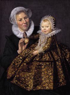 Catharina Hooft met haar min ~ 1619 ~ Olieverf op doek ~ 91,8 x 68,3 cm. ~ Gemäldegalerie der Staatlichen Museen zu Berlin, Berlijn