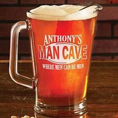 Personalized Man Cave Pitcher  $29.99 - can't go wrong!  Think we should sell them!  http://wallworktrucks.com