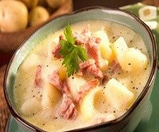 Crockpot Ham & Potato Soup    Ingredients:   7 c. diced potatoes (about 4 medium)  1 c. diced onion (about 1 medium)  1 large carrot, chopped  2 c. ham, diced  5 c. hot water  1 Knorr Chicken Bullion cube (extra large size that makes 1 quart broth or 4 small cubes that make 1 cup each)  1 c. 2% milk  1/2 c. sour cream  Salt and Pepper to taste