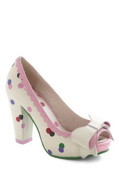 Garden Surprise Party Heel by Lola Ramona - Multi, Polka Dots, Bows, Scallops, Kawaii, High, Peep Toe, Leather, Cream, Prom, Party, Girls Night Out, Daytime Party, International Designer