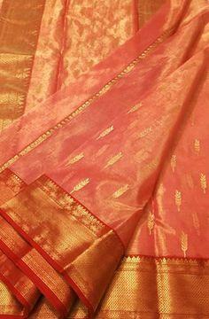 Pink Handloom Chanderi Tissue Silk Saree