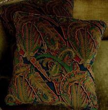 Clarence House Velvet Fabric Custom Designer Throw Pillows New 2 Navy Green Rust