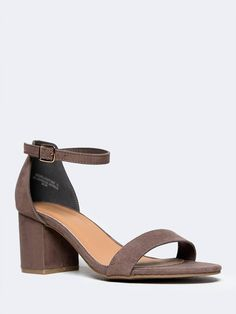 Taupe heels with a low heel and ankle strap. Also available in so many other colors like black, tan, white, yellow, and powder blue now on ZOOSHOO. Click to browse our heel selection! ~ ANKLE STRAP LOW HEEL SANDAL