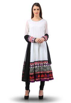 Buy Printed Viscose Georgette Anarkali Suit in White online, work: Embroidered, color: White, usage: Casual, category: Salwar Kameez, fabric: Viscose, price: $239.98, item code: KQW72, gender: women, brand: Utsav