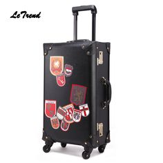 Cheap leather suitcase, Buy Quality luggage spinner directly from China rolling luggage Suppliers: Letrend Retro PU Leather Suitcase Wheels Rolling Luggage Spinner Women Fashion Trolley Student Travel Bag Men Carry On Trunk Mens Luggage, Travel Luggage, Luggage Trolley, Luggage Store, Mens Travel Bag, Travel Bags, Vintage Travel, Vintage Men