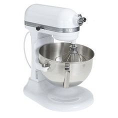 KitchenAid Professional 5 Plus Series. With a choice of ten speeds and three attachments--flat beater, spiral dough hook, and stainless-steel wire whip--the mixer handles everything from egg whites to meat loaf to pizza dough.