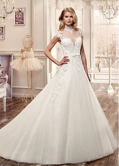 Marvelous Tulle Illusion High Neckline A-line Wedding Dresses with Beaded Lace Appliques