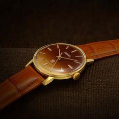 Raketa Soviet Dress Watch From raketa poljot de luxe Gents Watches, Omega Seamaster, Mechanical Watch, Watch Case, Brown Leather, Mesh, Swiss Watch, Jewels, Accessories