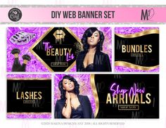Hair Websites, Web Banner Design, Web Banners, Pink Purple Hair, Barbie Website, Pink Pages, Branding Template, Hair Essentials, Facebook Banner