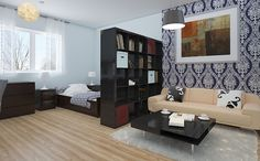 Studio Apartment Layout with Right Furniture Arrangement - http://www.ruchidesigns.com/studio-apartment-layout-with-right-furniture-arrangement/