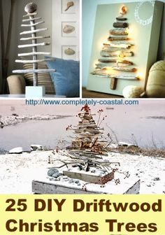 25 Awesome Christmas Driftwood Trees. Small, big, wall trees, and many others: http://www.completely-coastal.com/2012/12/25-driftwood-Christmas-trees.html